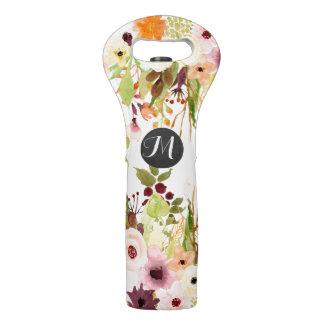 Herbst-Blumen-Garten-Monogramm Weintasche
