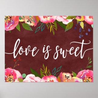 Herbst-Burgunderwatercolor-Hochzeits-Liebe ist süß Poster