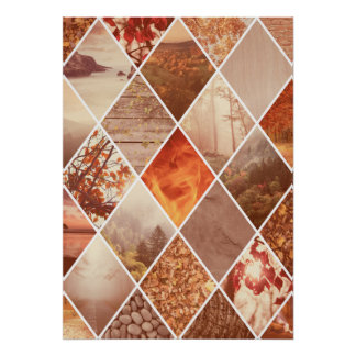 Herbst-Diamant-Muster Poster