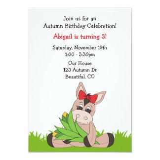 Herbst-Esel-Geburtstags-Einladung für Mädchen 12,7 X 17,8 Cm Einladungskarte