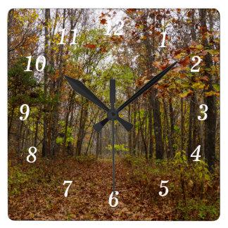 Herbst-Glück Quadratische Wanduhr