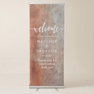 Herbst-orange graues Aquarell-Hochzeits-Willkommen Ausziehbarer Banner
