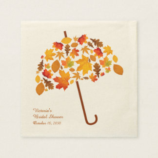 Herbst verlässt Regenschirm Servietten