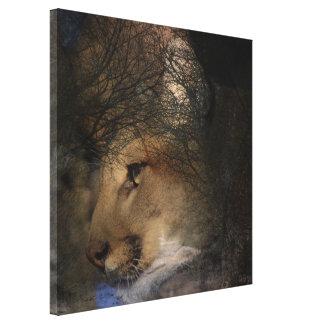 Herbstbaum-Silhouette-Gebirgslöwe wilder Cougar Leinwanddruck