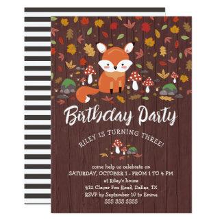 HerbstFox scherzt Waldgeburtstags-Party Karte