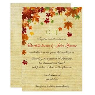 Herbstlaub-rustikale Hochzeit 12,7 X 17,8 Cm Einladungskarte