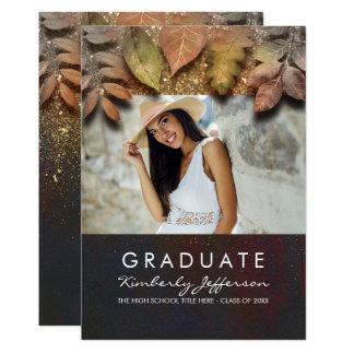 Herbstlaub und GoldGlitter-Foto-Abschluss 12,7 X 17,8 Cm Einladungskarte