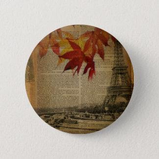 Herbstlaub Vintager Turm Herbst-Paris Eiffel Runder Button 5,7 Cm