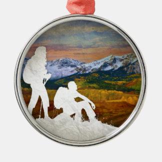 Herbstwanderung Silbernes Ornament