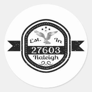 Hergestellt in 27603 Raleigh Runder Aufkleber