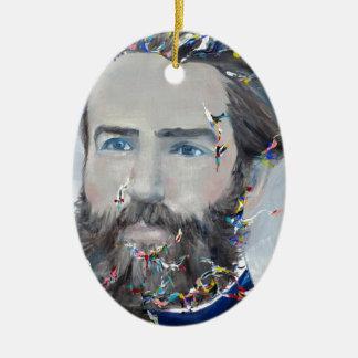 Herman Melville - Ölporträt Ovales Keramik Ornament