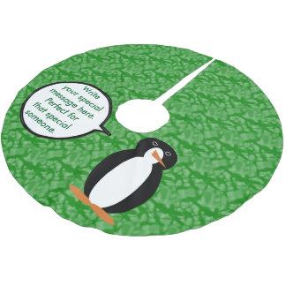 Herr Penguin in seinem Geburtstags-Anzug Polyester Weihnachtsbaumdecke