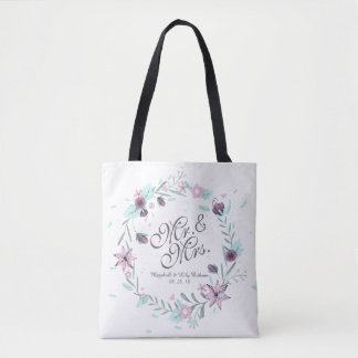 Herr-u. Frau-Floral Watercolor Wedding Tote Tasche