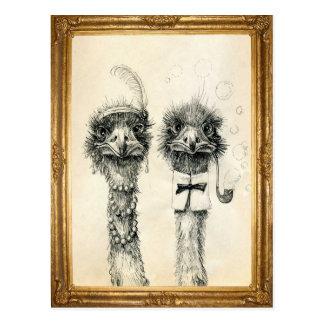 Herr und Frau Ostrich gerahmt Postkarten