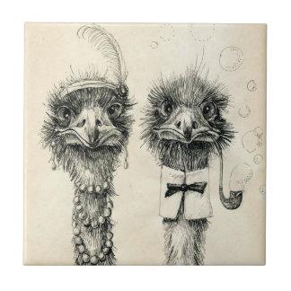 Herr und Frau Ostrich Kleine Quadratische Fliese