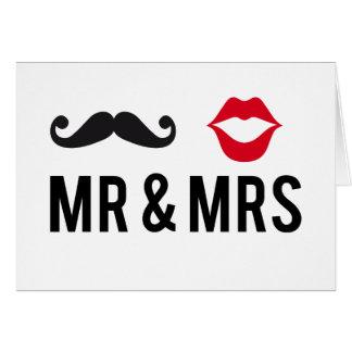 Herr und Frau, Schnurrbart und rote Lippen Grußkarte