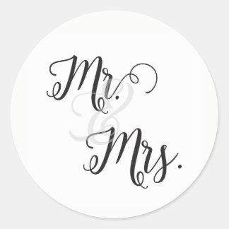 Herr und Frau Wedding Stickers- Schwarzweiss Runder Aufkleber