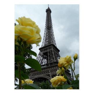 Herrliche Eiffel-Turm-Gelb-Rosen-Paris-Postkarte Postkarten