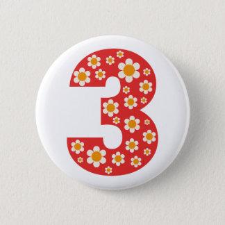 Herrliche Gänseblümchen-Zahl 3 Geburtstags-Knopf Runder Button 5,7 Cm