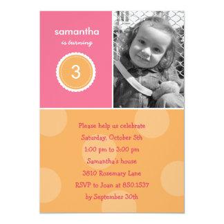 Herrliche Punkt-Foto-Geburtstags-Einladung (Rosa) 12,7 X 17,8 Cm Einladungskarte