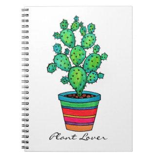 Herrlicher Aquarell-Kaktus im schönen Topf Spiral Notizblock