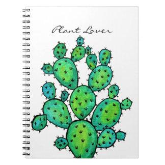 Herrliches Aquarell-stacheliger Kaktus Spiral Notizblock