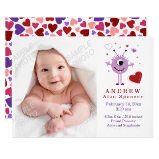 Herz-alien-Geburts-Foto-Mitteilung 12,7 X 17,8 Cm Einladungskarte