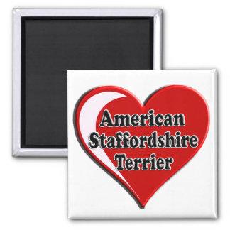 Herz amerikanischen Staffordshires Terrier Quadratischer Magnet