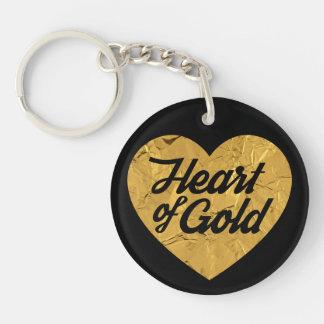 Herz aus Gold Beidseitiger Runder Acryl Schlüsselanhänger