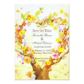 Herz-BäumeWatercolor, der Save the Date Wedding 12,7 X 17,8 Cm Einladungskarte