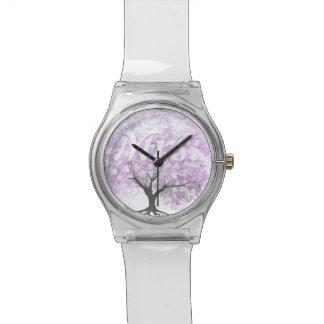 Herz-Blatt-Lavendel-Baum-Vintage Vogel-Hochzeit Uhr