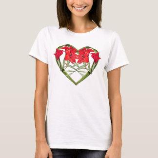 Herz der Gladiolas Blumen-botanischen mit T-Shirt