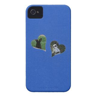 Herz des Blau-zwei addieren Foto-Rahmen iPhone 4 Hülle
