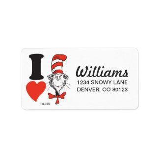 Herz Dr.-Seuss Valentine | I die Katze im Hut Adressaufkleber