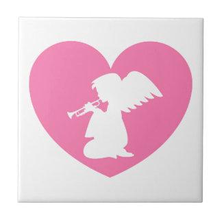 Herz-Engel mit Trompete Kleine Quadratische Fliese