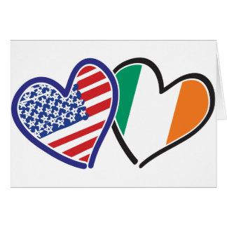 Herz-Flaggen USA Irland Grußkarte