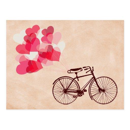 Herz-Förmige Ballone und Fahrrad Postkarte