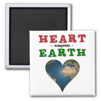 Herz-geformte Erde Quadratischer Magnet