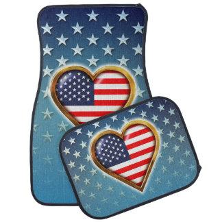 Herz geformte US-Flagge Autofußmatte