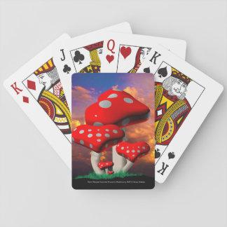Herz-geformte Wulstling Muscaria Pilze Pokerkarten
