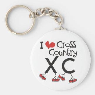 Herz I (Liebe) Querland, das XC laufen lässt Standard Runder Schlüsselanhänger