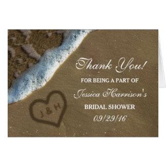 Herz im Sand-Strand-Brautparty danken Ihnen Mitteilungskarte