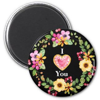 Herz-Liebe-Blumenstrauß-Magnet Runder Magnet 5,1 Cm