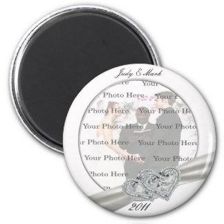 Herz-weiße Hochzeits-runder Magnet Runder Magnet 5,7 Cm