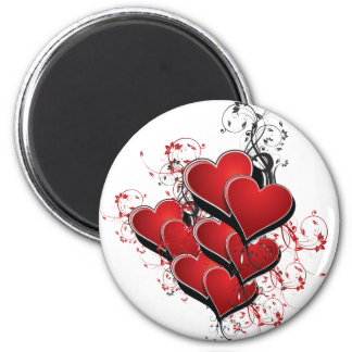 Herzen auf Feuer Runder Magnet 5,7 Cm