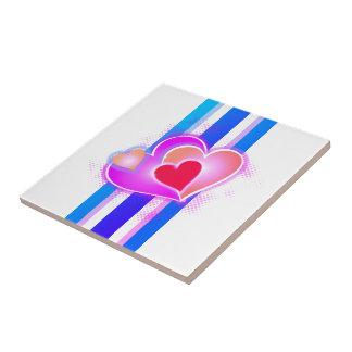 Herzen mit heller und dunkelblauer Streifen-Fliese Keramikfliese