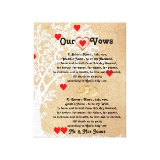 Herzen und Baum-Hochzeits-Versprechen auf Leinwand