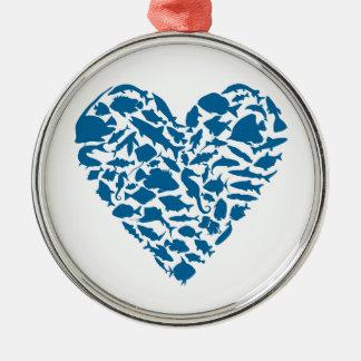 Herzfische Silbernes Ornament