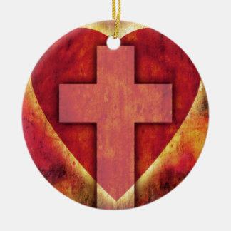 Herzkreuz Rundes Keramik Ornament