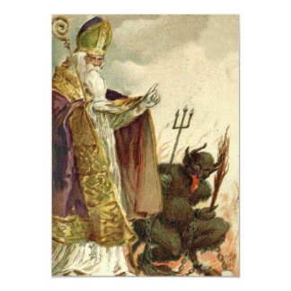 Heugabel-Priester Sankt Nikolaus Krampus 12,7 X 17,8 Cm Einladungskarte